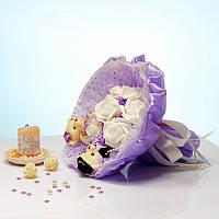 Букет из мягких игрушек Мишки Сладкая парочка фиолетовый, фото 1