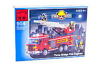"""Конструктор Brick 904 """"Пожарная машина с командой"""" 364 дет, фото 1"""