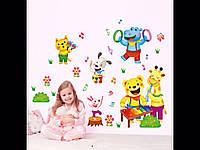 Наклейка для детей виниловая животные цветные