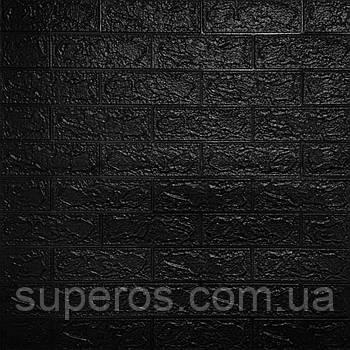 Декоративна 3D панель самоклейка під цеглу Чорний 700х770х5мм (019-3)