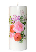 Свеча декоративная цветы  d-6  h-14 cm