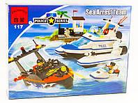 """Конструктор """"Береговая полиция (3 катера + причал)"""" 469 деталей Brick-117"""