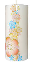Свеча декоративная лента цветов d -6  h-14 cm