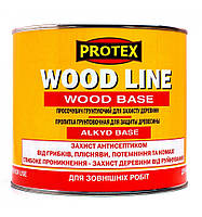 Пропитка грунтующая  для защиты древесины ТМ PROTEX WOOD LINE WOOD BASE (0,7л/2,1л/10л) От упаковки
