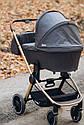 Дитяча коляска темно-сіра Carrello Epica 2в1 золота рама люлька прогулянковий блок сумка дощовик москітна сітка, фото 8