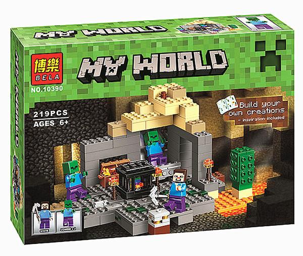 """Конструктор Minecraft Bela 10390 """"Подземелье"""" (реплика Lego 21119 Майнкрафт), 219 дет"""