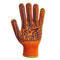 Перчатки рабочие х/б оранжевая с пвх покрытием DOLONI