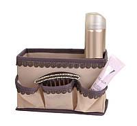 """Корзинка с кармашками для хранения мелочей """"Кружево"""" беж., Design Line 01-BG"""