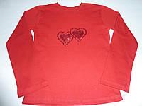 Красная футболка  с длинным рукавом сердечки