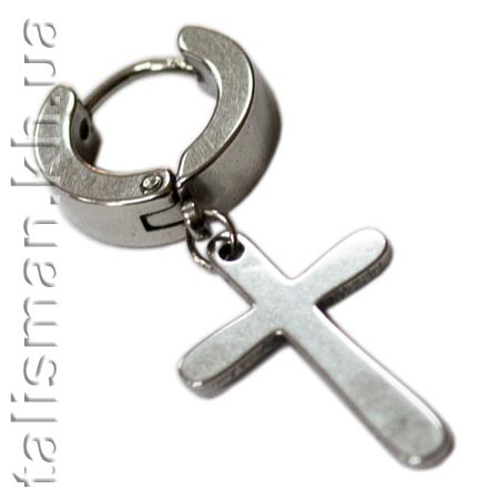 Серьга-кольцо - SP-14 - с крестом-подвеской