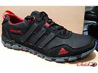 Кроссовки мужские осень-весна Adidas кожаные черные AD0028