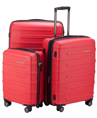 Яркий набор дорожных пластиковых 4-колесных чемоданов HAUPTSTADTKOFFER ostkreuz set red красный