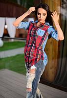 Рубашка женская в клетку, длинный рукав