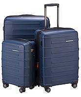 Набор пластиковых 4-колесных чемоданов для путешествий HAUPTSTADTKOFFER ostkreuz set blue синий
