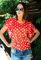 Блузка женская шелк красная в  белый горох