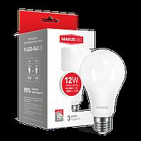 Лампа LED MAXUS A65 12W 3000K 220V E27 Теплый свет