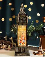 "Новогодний декор лампа с подсветкой ""БИГ БЕН Снеговик"" 11*11*39 см."
