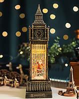 "Новогодний декор лампа с подсветкой ""БИГ БЕН Санта"" 11*11*39 см."