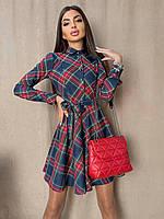 Сукня-сорочка жіноча тепле з трикотажу вовни в клітку з поясом і пишною спідницею Smma6569