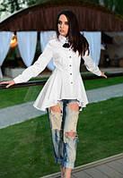 Женская Белая блузка трапеция