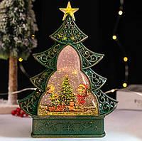 """Новогодний декор лампа - """"Ёлка"""" со снегом и гномами 29*25*6,5 см"""