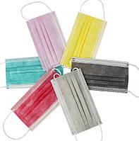 Маска одноразовая цветная 3-слойная
