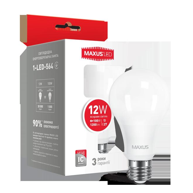 Лампа LED MAXUS A65 12W 4100K 220V E27 Яркий белый