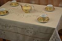 Скатерть льняная с вышивкой, 100x150 см