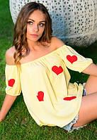 Блуза женская с рисунком  сердце