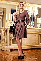 Платье женское с пышной юбкой коричневое