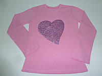 Розовый топ  длинный рукав сердце