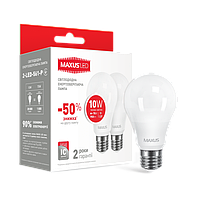 LED лампа A60 10W мягкий свет 220V E27 (по 2 шт.) Теплый свет