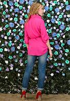 Малиновая женская рубашка с ремнем