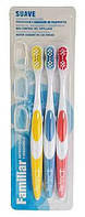 Зубные щетки набор 3шт (мягкая жесткость) Deliplus
