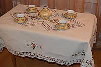 Скатерть льняная с вышивкой и кружевом, 140x180 см (Арт 119-5)