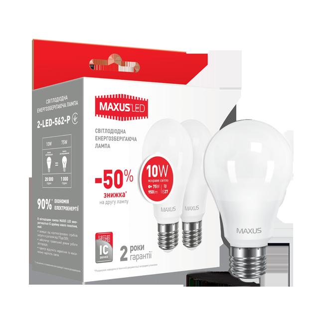 Упаковка из 2х led ламп MAXUS A60 10W 4100K 220V E27 Яркий свет
