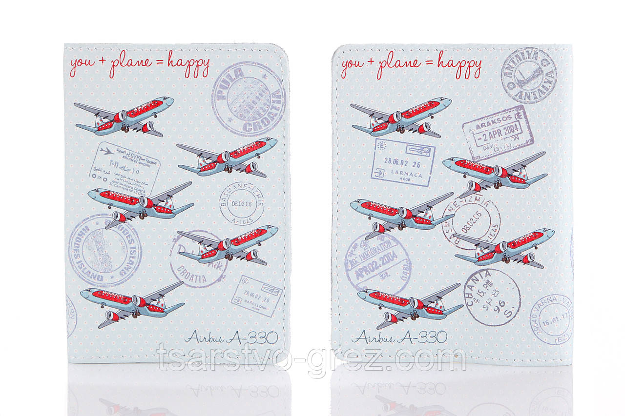 Кожаная обложка на паспорт You + Plane = Happy