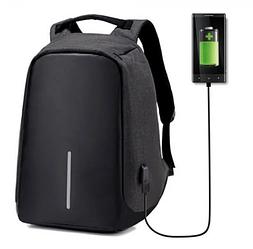 Рюкзак протикрадій міській з USB зарядкою Antivor з захистом від кишенькових злодіїв Чорний