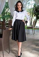 Блузка женская белая с черный воротником та манжетом