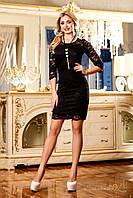 Платье женское коктейльное гипюровое чёрное