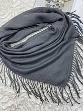 Женский кашемировый однотонный серый платок с бахромой 100х95 см (цв.1)