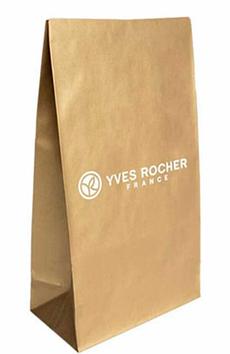 Фирменный брендовый подарочный пакет с логотипом ив роше yves rocher