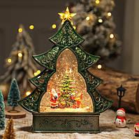 """Новогодний декор лампа """"Ёлка и санта"""" со снегом 29*25*6,5 см"""