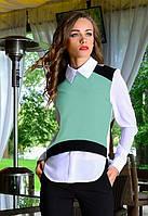 Блузка женская с белым воротничком под жилетку