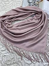 Женский кашемировый однотонный платок пудра с бахромой 90х90 см (цв.7)