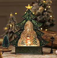 "Новогодний декор лампа - ""Ёлка и снеговик"" со снегом 29*25*6,5 см."