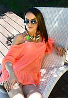 Женская персиковая блузка свободного кроя голые плечи