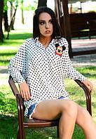 Женская рубашка в горошек с рисунком микки