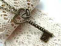 Ключик на цепочке, подвеска ключ с сердечком для влюбленных, кулон ключик от сердца