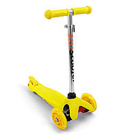 Самокат желтый, светятся колеса PU, трубка руля алюминиевая, в коробке